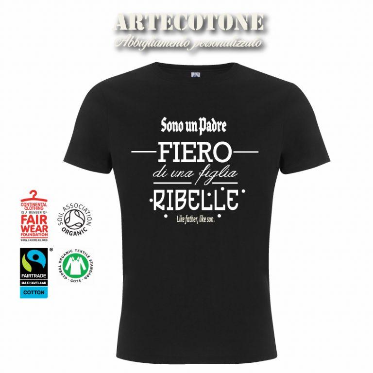Tshirt padre fiero figlia ribelle - Design by Artecotone